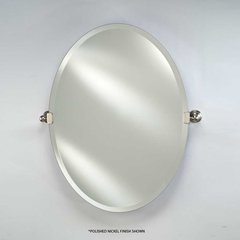 "Radiance Tilt Traditional 18"" Oval Mirror - Satin Nickel"