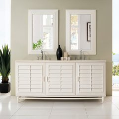 "72"" Portland Double Vanity Cabinet Only-Cottage White"