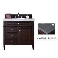 "36"" Brittany Vanity w/Black Rustic Top - Burnished Mahogany"