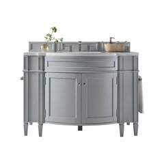 "46.5"" Brittany Single Sink Vanity w/ Solid Surface Top - Urban Gray"