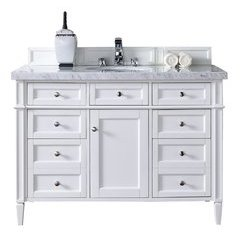 "48"" Brittany Single Sink Vanity w/ Marble Top - Cottage White"