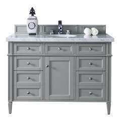 "48"" Brittany Single Sink Vanity w/ Marble Top - Urban Gray"