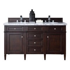 "60"" Brittany Double Sink Vanity w/ Marble Top - Burnished Mahogany"