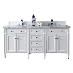 """72"""" Brittany Double Sink Vanity w/ Marble Top - Cottage White"""