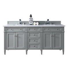 "72"" Brittany Double Sink Vanity w/ Quartz Top - Urban Gray"