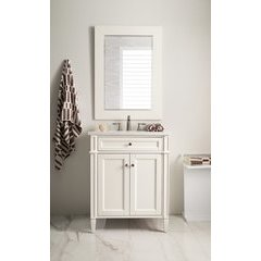 "30"" Brttany Encore Single Sink Vanity w/ Arctic Fall Solid Surface Top - Cottage White"
