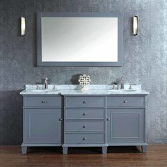 "60"" Cadence Double Vanity - Gray/Carrara White Top"