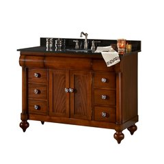 "48"" John Adams Single Sink Vanity w/ Black Top- Brown Cherry"