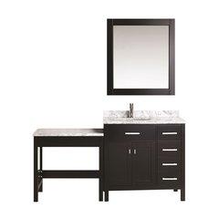 "36"" London Single Sink Vanity w/ Make-up Table - Espresso"