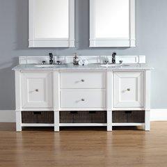 "72"" Madison Double Vanity w/ Carrara White Top-Cott White"