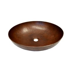 "17"" Round Maestro Sonata Vessel Bathroom Sink-Antique Copper"