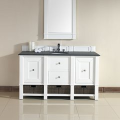 "60"" Madison Single Vanity w/ Absolute Black Top-Cott White"