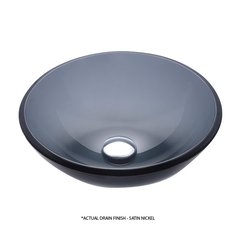 "14"" Clear Black Vessel Sink w/ Drain - Black/Satin Nickel"