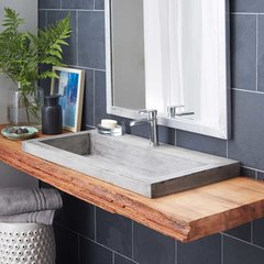 "36"" x 19"" Trough Drop-In Bathroom Sink - Ash"