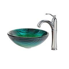 "17"" Nei Vessel Sink w/ Faucet - Multicolor/Chrome"