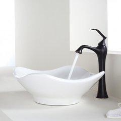 """15"""" White Tulip Vessel Sink w/ Faucet - White/Oil Rub Bronze"""
