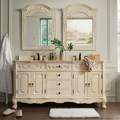 "72"" Naples Double Vanity w/ Galala Beige Top- Anti. White"