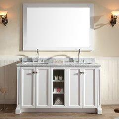 """61"""" Westwood Double Sink Bathroom Vanity - White"""