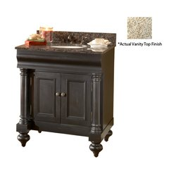 "36"" Guild Hall Single Vanity w/ Gold Top - Distressed Black"