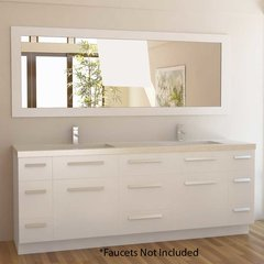 "84"" Moscony Double Sink Bathroom Vanity - White"