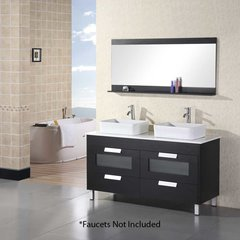 "55"" Francesca Double Sink Bathroom Vanity - Black"