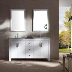 "60"" Hanson Double Sink Bathroom Vanity - White"