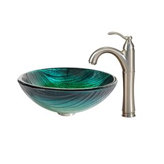 "17"" Nei Vessel w/ Faucet - Multicolor/Satin Nickel"