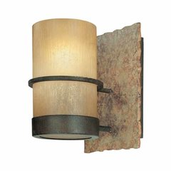 Bamboo 1 Light Bathroom Sconce - Bamboo Bronze/Natural Slate