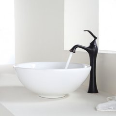 "15"" White Round Vessel Sink w/ Faucet - White/Oil Rub Bronze"