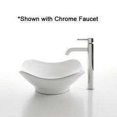 "15"" White Tulip Vessel Sink w/ Faucet - White/Satin Nickel"