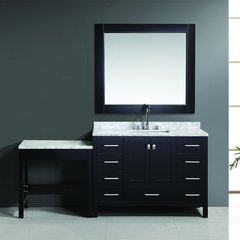"48"" London Single Sink Vanity w/ Make-up Table - Espresso"