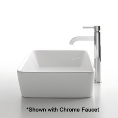 "19"" White Rectangular Vessel Sink w/ Faucet - White/Chrome"