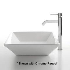 "16"" White Square Vessel Sink w/ Faucet - White/Satin Nickel"