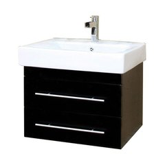 "24"" Single Sink Wall Mount Vanity - Black/White Top"