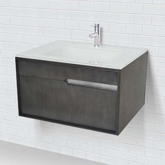 "29-3/5"" Cityscape Wallmount Vanity w/ Glass Top - Charcoal"