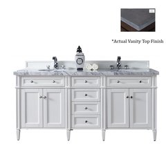 "72"" Brittany Double Vanity w/Black Rustic Top- Cottage White"