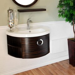 "34"" Single Sink Wall Mount Vanity - Ebony/White Top"