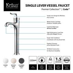 Kraus Coda 1 Handle Vessel Bathroom Faucet - Chrome FVS-13800CH