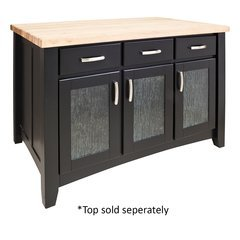 52 inch Contemporary Kitchen Island with o Top - Black <small>(#ISL07-BLK)</small>