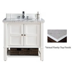 "36"" Madison Single Vanity w/Cararra White Top -Cottage White"