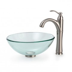 "14"" Clear Vessel Sink w/ Faucet - Clear/Satin Nickel"