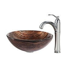 "17"" Gaia Vessel Sink w/ Faucet - Multicolor/Chrome"