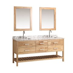 "72"" London Double Sink Bathroom Vanity w/ Mirror - Oak"