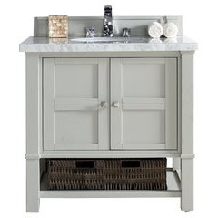 "36"" Madison Single Sink Vanity w/ Quartz Top - Cottage White"