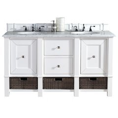 "60"" Madison Double Sink Vanity w/ Marble Top - Cottage White"