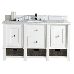 "60"" Madison Single Sink Vanity w/ Granite Top - Cottage White"