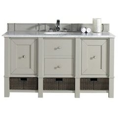 "60"" Madison Single Sink Vanity w/ Marble Top - Dove Gray"
