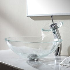 "16"" Crystal Vessel Sink w/ Faucet - Clear/Chrome"