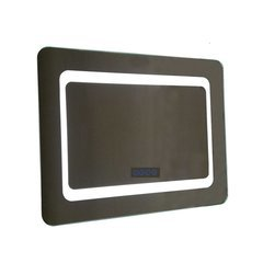 30 Inch LED Framed Mirror with Incurved Edges and Bluetooth Speakers