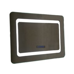 36 Inch LED Framed Mirror with Curved Edges and Bluetooth Speakers